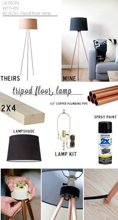 DIY Tripod Floor Lamp Total $34.50 with 10' copper pipe