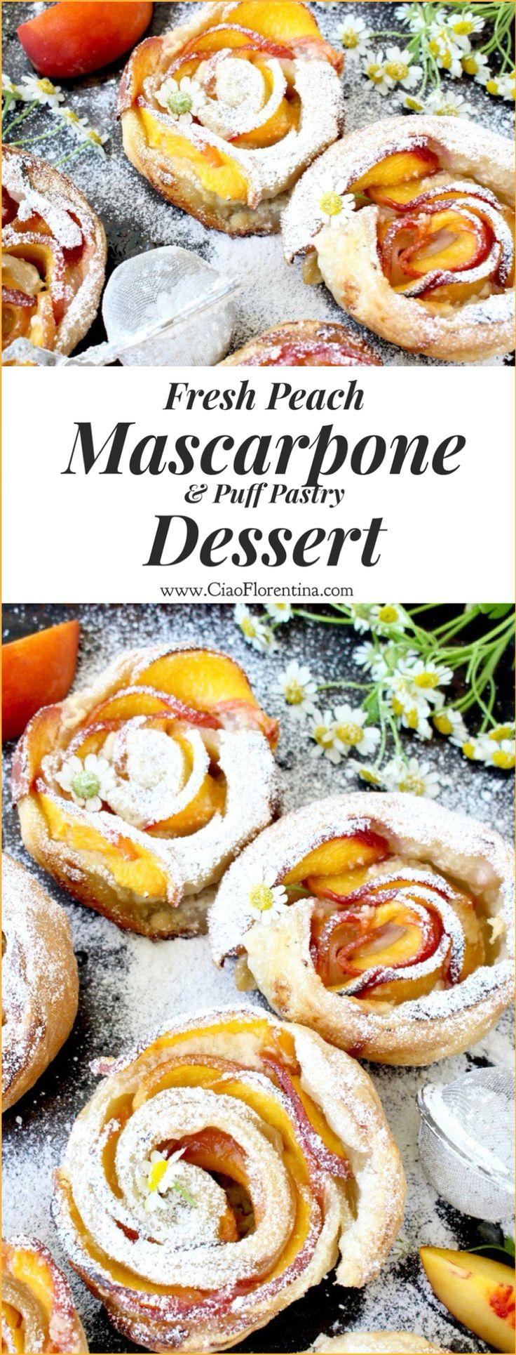 Fresh Peach Dessert Recipe with Mascarpone, Vanilla Bean and Flaky ...