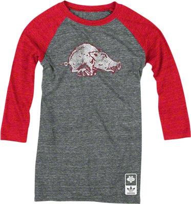 Arkansas Razorbacks adidas Originals Women's Vintage Mascot 3/4 Sleeve Tri-Blend T-Shirt