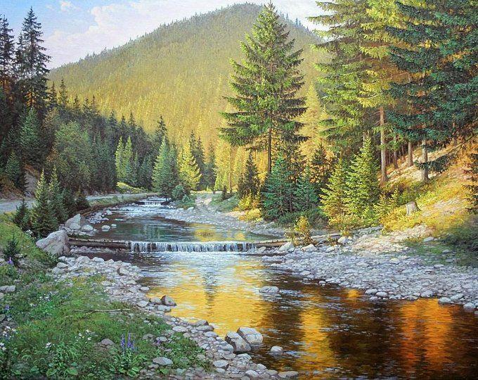 Summer Mountain Landscape Oil Painting Realism Oil Painting Large Canvas Art Original Large Painting Mountains Art Wall Art Landscape Paintings Landscape Original Large Painting