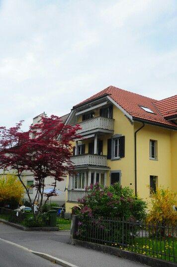 The beautiful yellow house, Interlaken.
