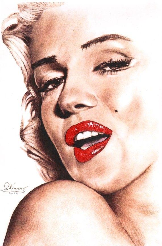 Marilyn Monroe (glamour) 11 x 17 print of hand drawn original. by essenceofus. || This image first pinned to Marilyn Monroe Art board, here: http://pinterest.com/fairbanksgrafix/marilyn-monroe-art/ ||