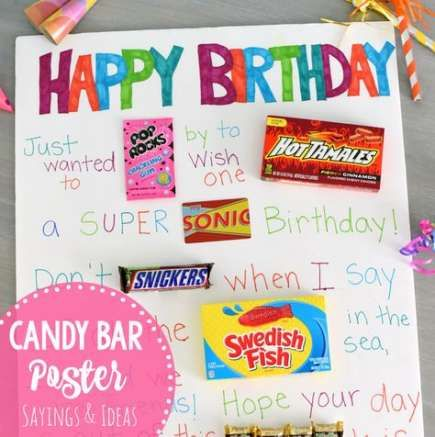 birthday poster board with candy kids