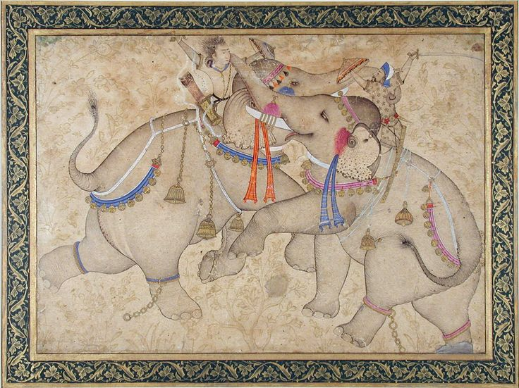 Elephants and Riders in Combat. Opaque watercolor and gold on paper, Bijapur (or Ahmednagar), 1st quarter 17th century, The San Diego Museum of Art