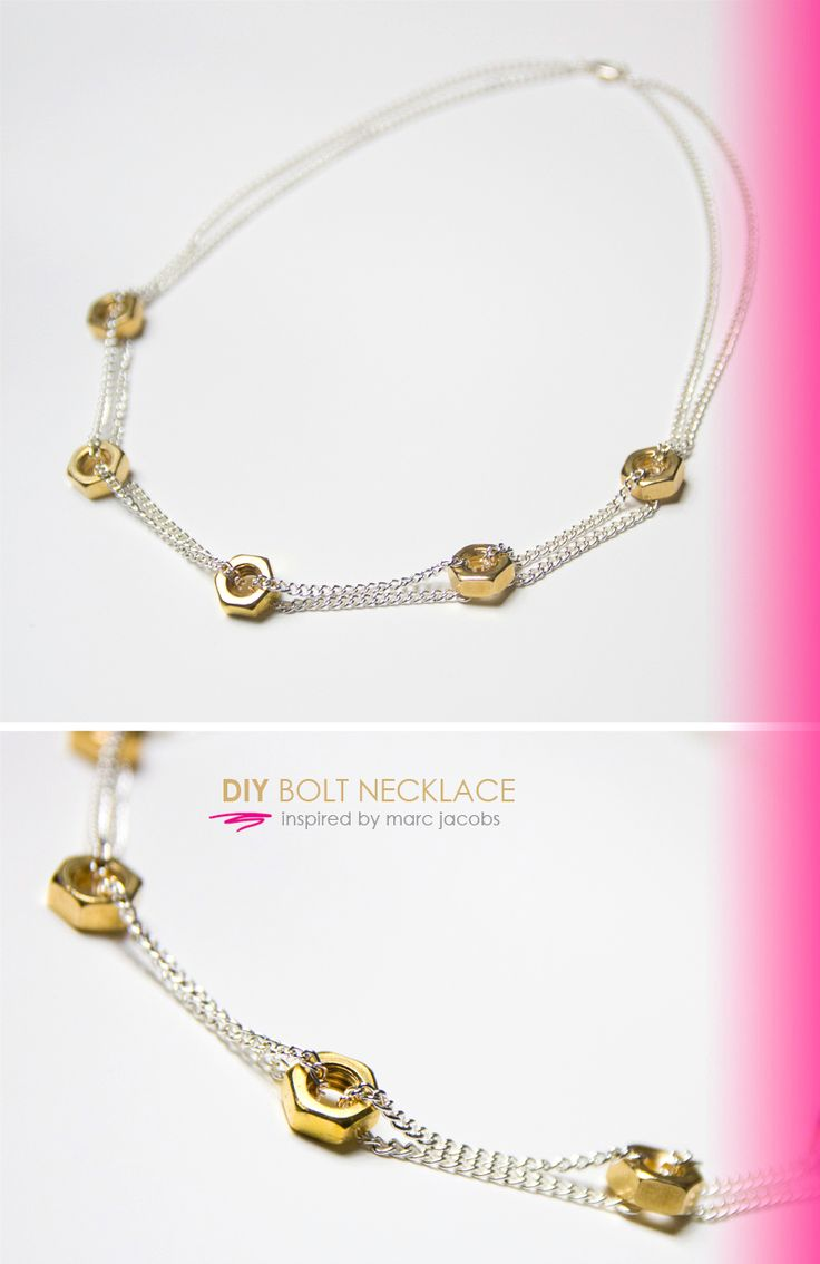 marc jacobs inspired bolt necklace. Use nail polish to add a splash of color to the bolts.