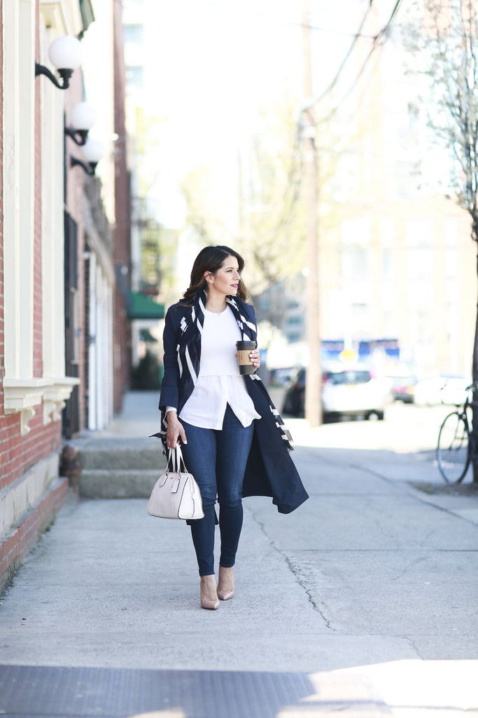 worth new york trench navy spring scarf what to wear to work workwear office style casual friday ag denim coach nolita satchel christian louboutin club monaco corporate catwalk