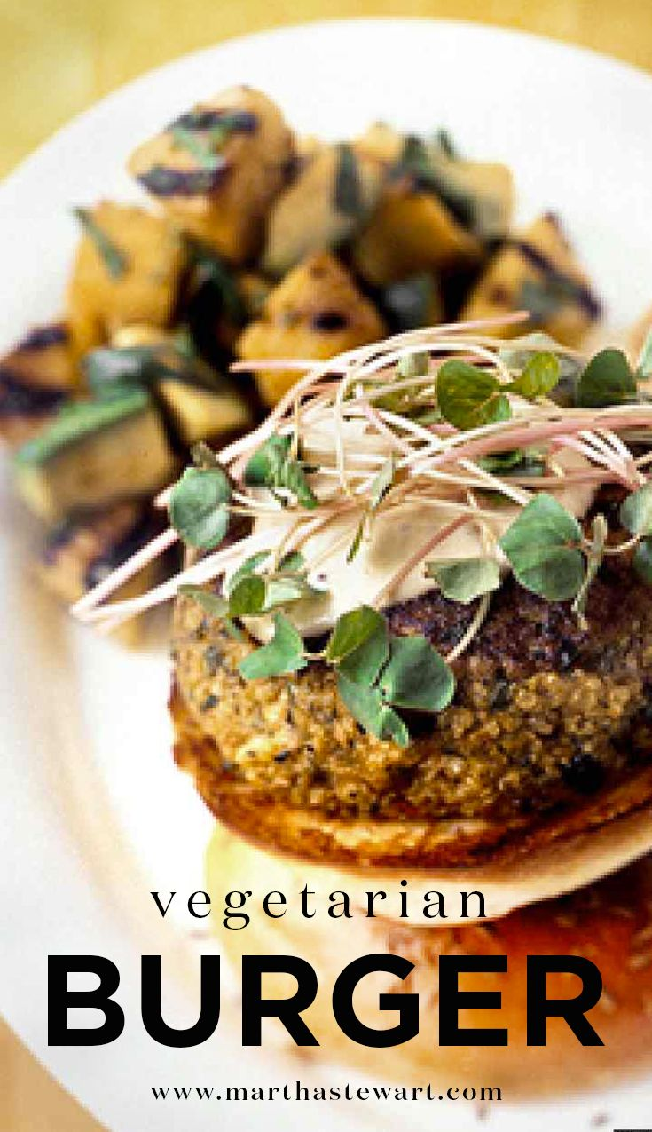 Vegetarian Burger | Martha Stewart Living - This healthy burger can be served to your vegan and vegetarian guests.