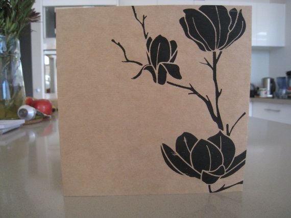 Magnolia  Screenprint Greeting Card with by LifeStyledByNManks