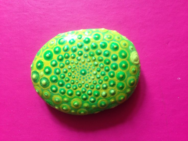 Trippy Rock painting, green and light green and yellow; nature inspired #nature #painting #trippy #rockpainting #fun #summer #beach #dots #rocks #rock