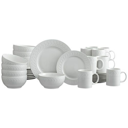 Constructed of porcelain. 32 piece dinnerware set, service for eight, includes (8) each: 10-1/2 inch dinner plate, 8-1/4 inch salad plate, 6-1/2 inch diameter (29 ounce)...