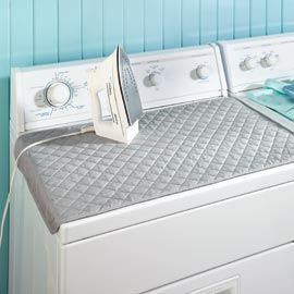 Sewing idea - removable ironing board cover for the washer top/dryer top.