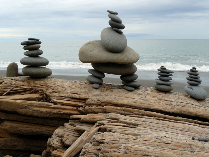 Stone Stacks by sea turtle. Stones on driftwood, with the Pacific Ocean in the background. Discovered on Rialto Beach, Olympic Peninsula, Washington state.  #driftwood  #stones  #stacked  #Pacific Ocean  #stone  #beach  #outdoor  #La Push  #Washington state  #Olympic Peninsula  #Rialto Beach