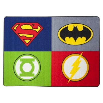 "Justice League Rug. •Dimensions: 54.0 "" L x 39.38 "" W •Rug Size: 3'x5' $20. this is cool"
