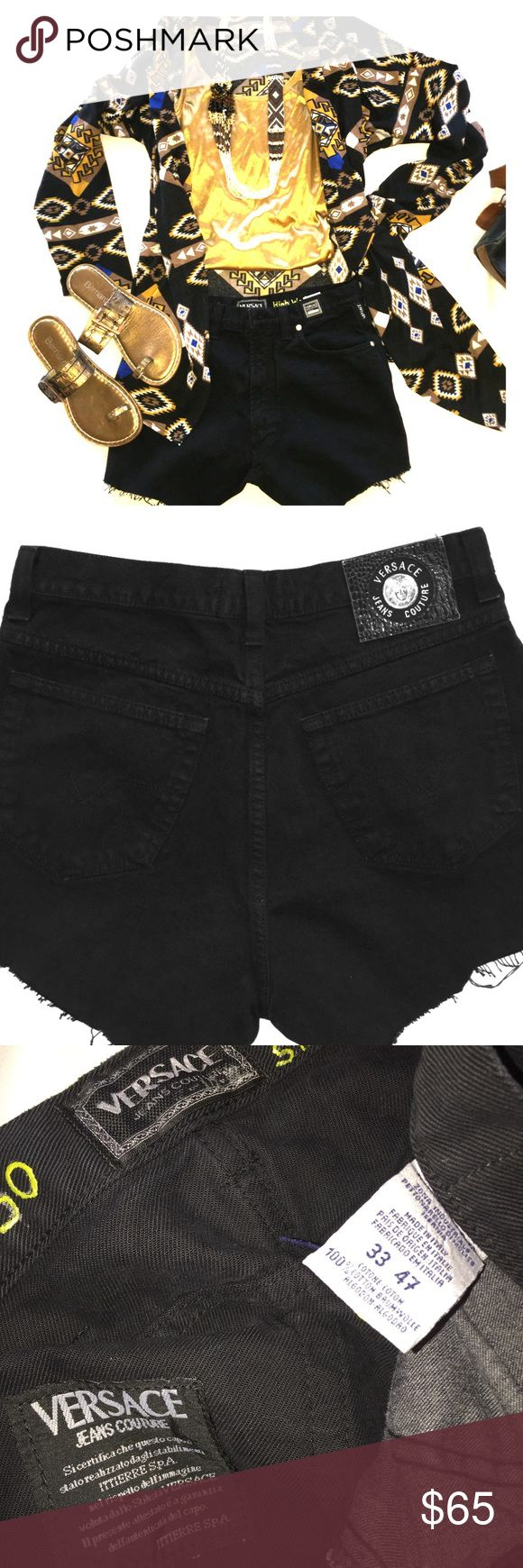"""Versace jeans Couture---Black cut offs I bought these for $150 and didn't like them as jeans so I cut them and then I didn't like them as shorts.   Someone could make these hip !! Not me, Not tooooooodaaaaaay!  15"""" waist --3&3/4"""" inseam----12"""" in total length..   These are thick and not faded (still jet black)  so they still look new. Versace Shorts Jean Shorts"""