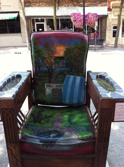 A chair that was hand painted for Streets Alive in Orillia Ontario.