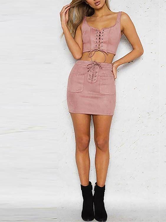 Mini falda de diseño de encaje rosa de ante con cremallera trasera - US$17.95 -YOINS