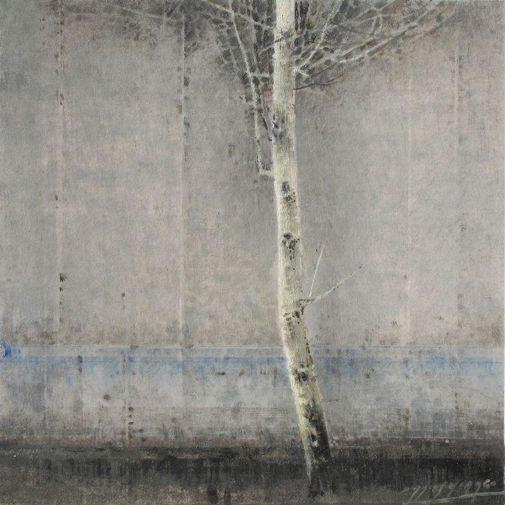 gris y blanco  20 x 20 cm.  oli sobre fusta