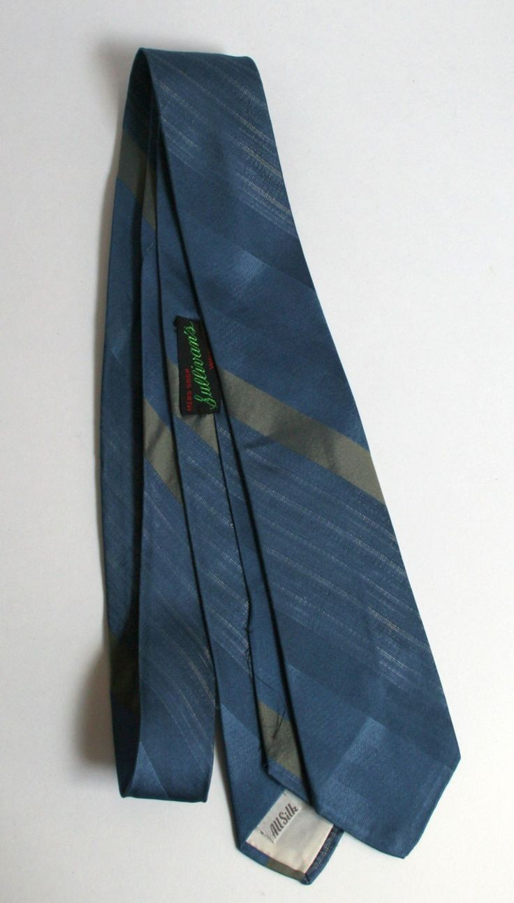 Mid Century Beau Brummell skinny blue silk necktie with stripes by FadedPrimaDonnaVntg on Etsy