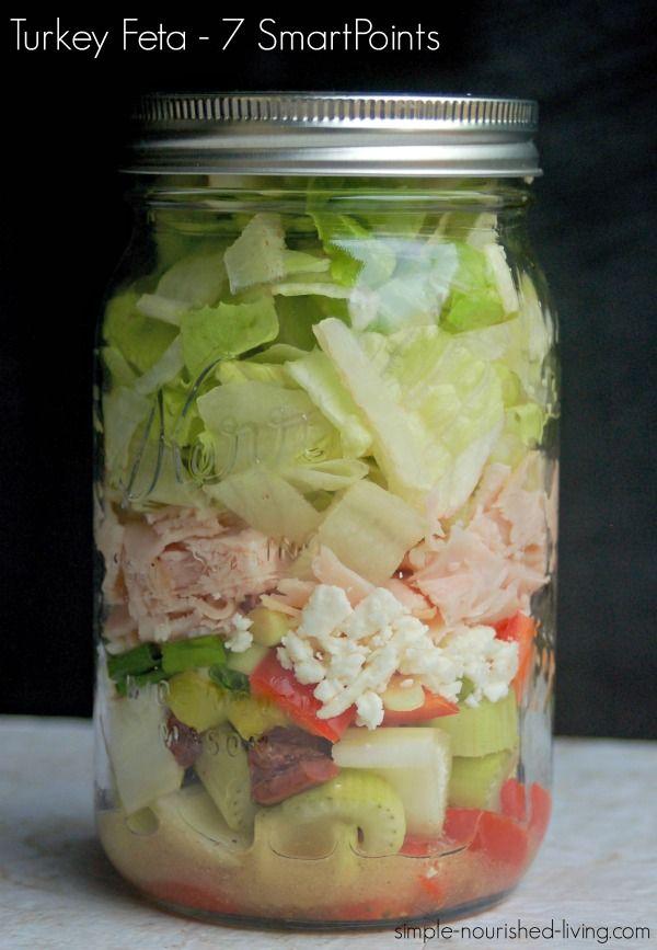 Greek Turkey Feta Salad in a Jar 7 SmartPoints -  http://simple-nourished-living.com/2016/03/first-mason-jar-salad/