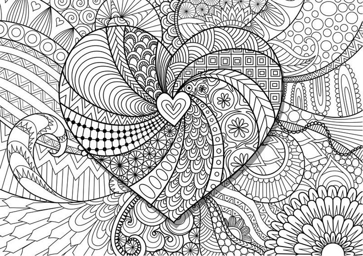 Download Heart On Flowers Zendoodle Design For Adult Coloring Book Page. Stock Vector Stock Vector - Illustration of cute, invitation: 85944489