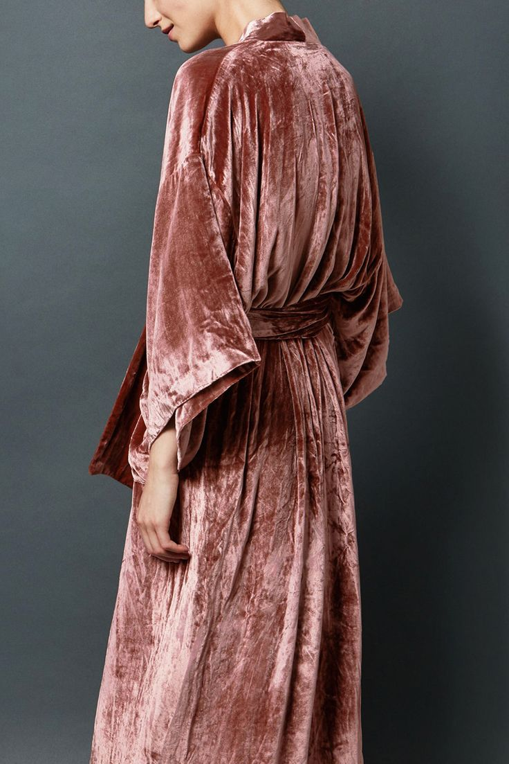 the most beautiful dusty rose velvet robe by Toast