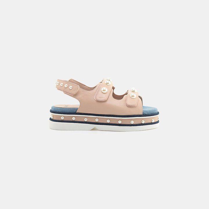 Clone Diamond Nappa Leather Flatform Stud Sandal