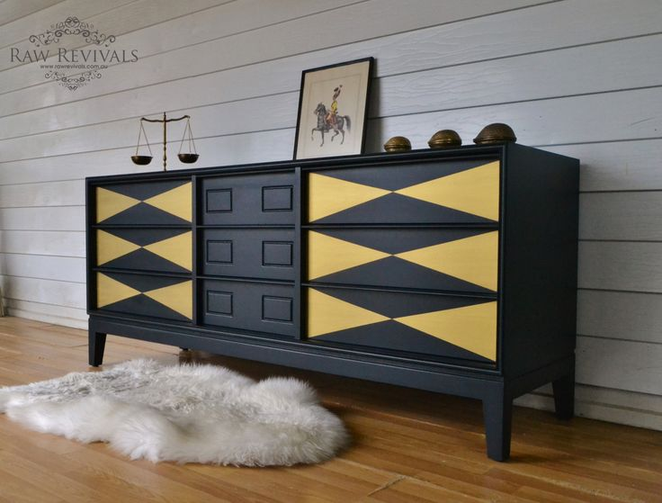 Mid century black and gold sideboard.  geometric painted pattern on drawers.  www.rawrevivals.com.au