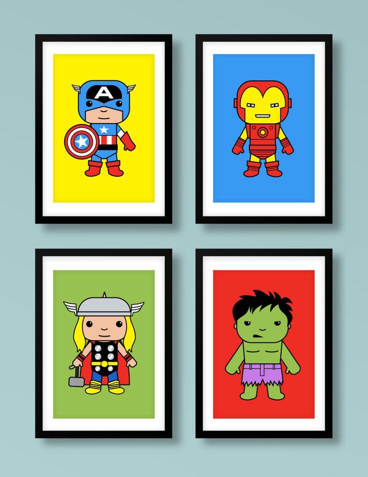 Super Hero inspired wall art, super hero 4 print set , Captain America, Thor, Iron Man, Hulk, The Avengers, nursery print, nursery art by MiniHeroes on Etsy https://www.etsy.com/listing/196204688/super-hero-inspired-wall-art-super-hero