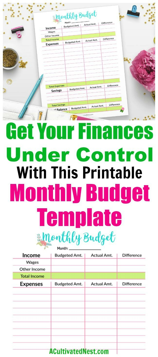 Printable Monthly Budget Template Printables Pinterest Monthly