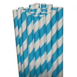 Stripe Aqua Blue Paper Party Straws - $3.75 for 25 count