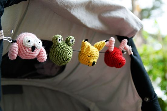Free Patterns for the tiny animal heads on the stroller mobile...(or it could be a Christmas garland....or individual ornaments....or key fob...or....