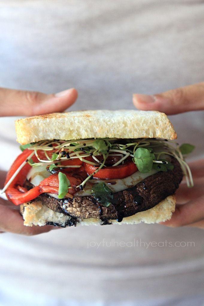 Grilled Portobello Burgers with Balsamic Reduction by joyfulhealthyeat #Burgers #Portobello #Healthy