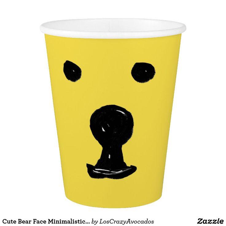 Cute Bear Face Minimalistic Drawing Paper Cup