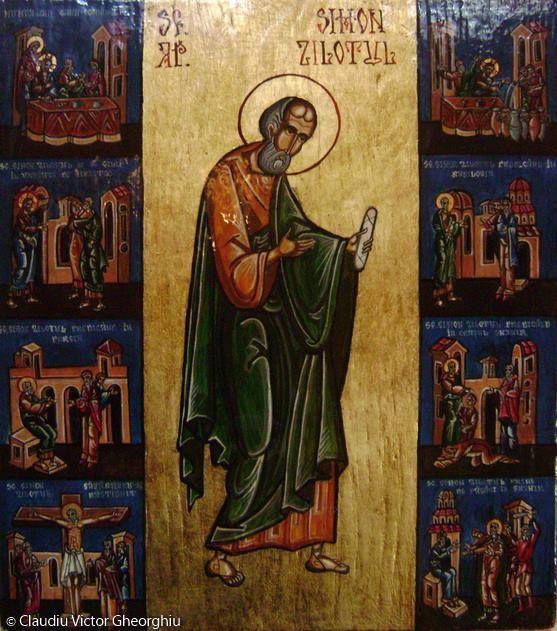 """10 Mai: SF. APOSTOL SIMON Zilotul, ale carui sfinte moaste se afla spre inchinare la Biserica Podeanu, Str.Dornei 70, BUCURESTI, preot paroh VASILE AILIOAEI. In imagine icoana pictata de mine """" SF.AP.SIMON ZILOTUL cu scene din viata sa"""", daruita Bisericii Podeanu (unde se afla moastele SF. AP.SIMON) in 2004, la indemnul si cu binecuvantarea P.S. Ambrozie, Episcop vicar patriarhal atunci, azi Episcopul Giurgiului. Slava lui DUMNEZEU pentru toate."""