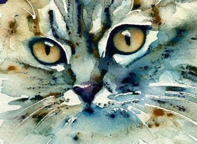 Watercolor painting of a cat - Carmen - by Lori Alexander