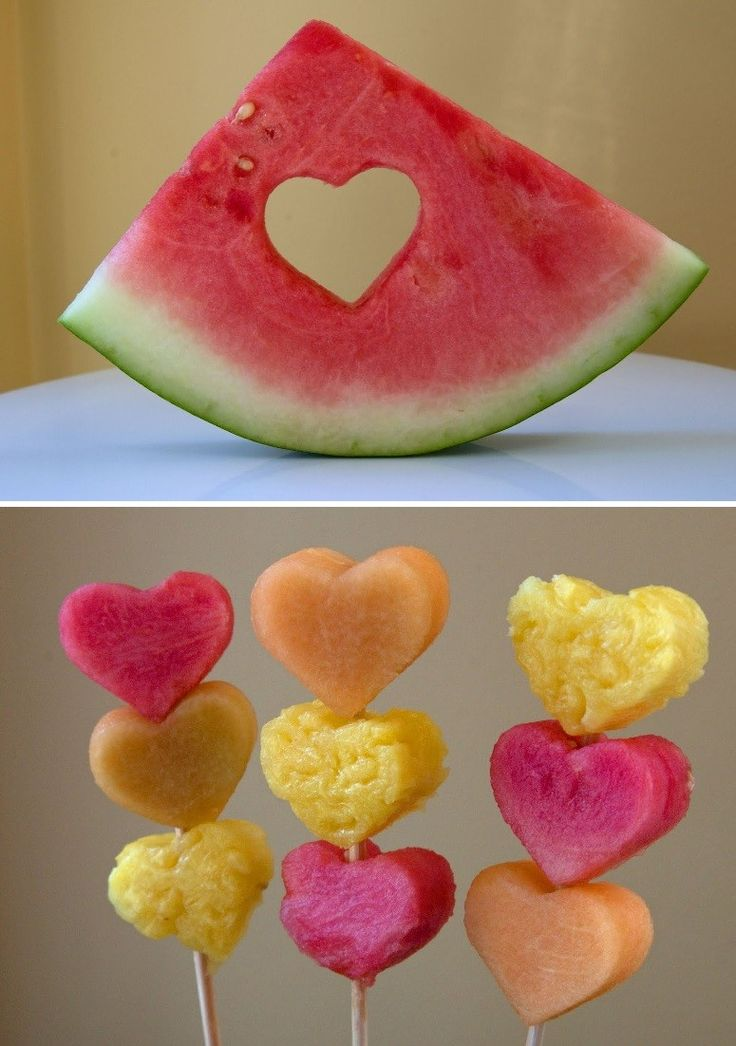Handmade 2016 Valentine heart shape fruit barbecues with watermelon pineapple and melon - Valentine party treats