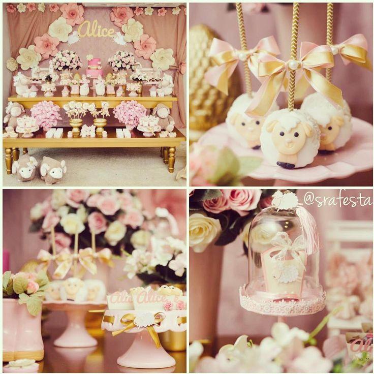 """Sra. Festa en Instagram: """"A Nanda do blog @meudiadmae fez um chá de apresentação para a sua pequena Alice! A decoração, com o tema Ovelhinha ficou linda! Foto: @nathaliacarvalhofotografia / Decoração @fatimabeloboutiquedeeventos / Personalizados e flores: @delmareeventos / Buffet: @ateliedocemaria / Móveis @benditafestaria / Beijinhos @verabarrosbeijosfinos / Doces de ovelhas e pirulitos @mcakedesignbr / Algodão doce: @otabuleiro / bolo @de_acucar / artigos de festa @lojatemfesta"""""""