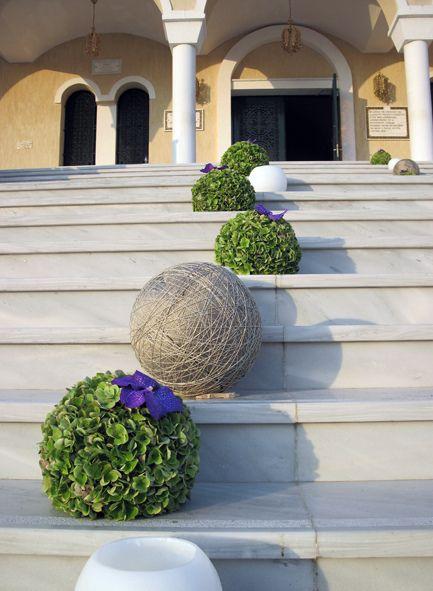 Hydrangea balls with vanda orchids