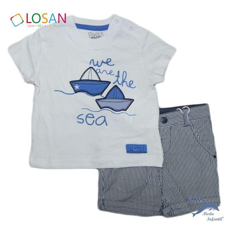 Conjunto de niño bebe LOSAN camiseta barcos y pantalon de rayas