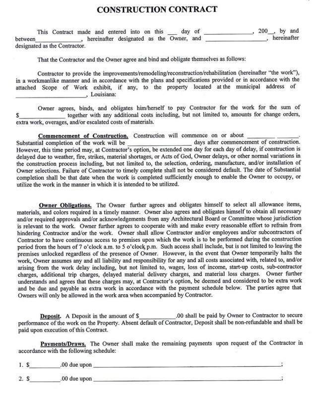 Sample Construction Contract Construction Contract Contract Template Contractor Contract