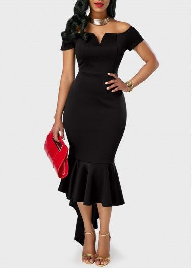 New-Arrival, Off the Shoulder All-Black Party Short Sleeve Mermaid Dress, here we show you this dress with off the shoulder, flare hem, bodycon fit. don't miss.