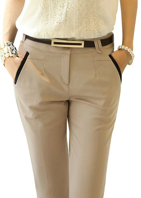 womens Skinny Office Casual Slim Pencil Pants Trousers xs