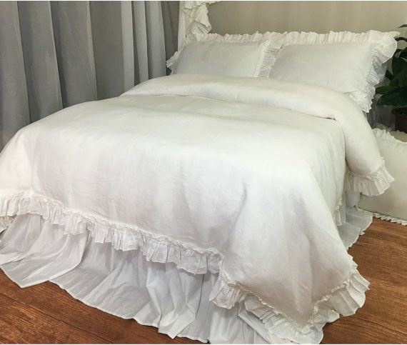 White Linen Vintage Ruffle Duvet Cover Available In Twin Full
