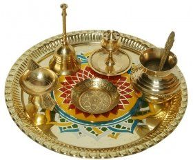 Design Hut Golden Brass Pooja Thali Set For Diwali Pooja