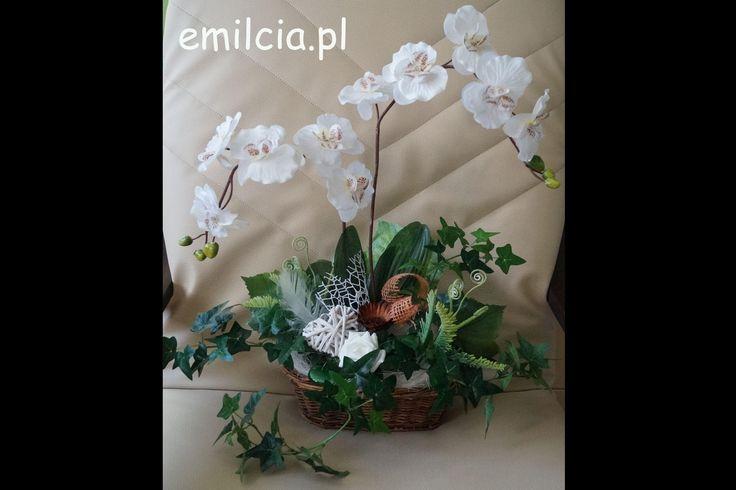 Dwa Storczyki w koszyczku Kompozycja, Ikebana, Dekoracje do domu, Na prezent, Rocznicę, Podziękowanie, Kwiaty sztuczne