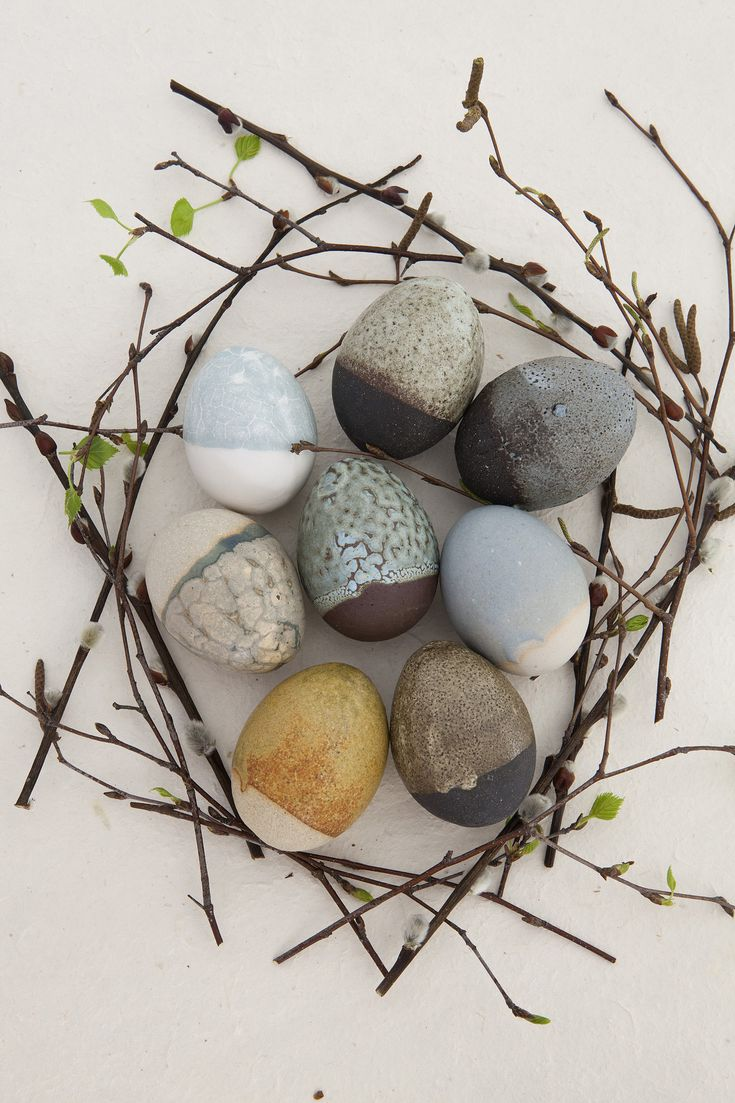 ≗ Feathered Nest of Hope ≗ bird feather & nest art jewelry & decor - Ceramic eggs by Mette Strøm, Norway. Styling and photography by 2athome.no