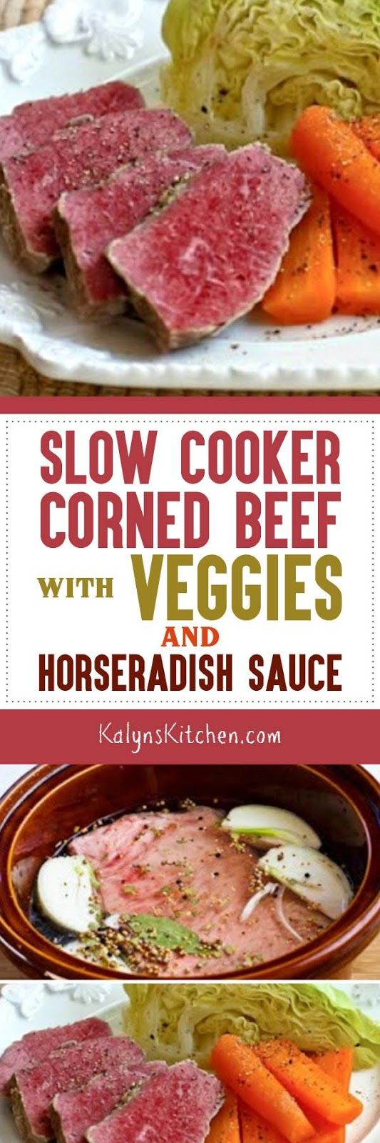 I know this type of corned beef dinner isn't authentically Irish, but I still like to make Slow Cooker Corned Beef with Veggies and Horseradish Sauce just about every year for St. Patrick's Day. And corned beef in the slow cooker couldn't be easier or more delicious. The corned beef and cabbage is low-carb, Keto, low-glycemic, and gluten-free; if you add carrots they are higher in carbs. [found on KalynsKitchen.com] #CornedBeef #SlowCookerCornedBeef #SlowCookerRecipe