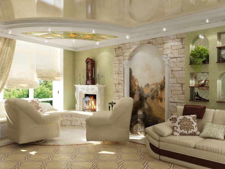 Фрески в интерьере гостиной: фото и стили исполнения | DomoKed.ru