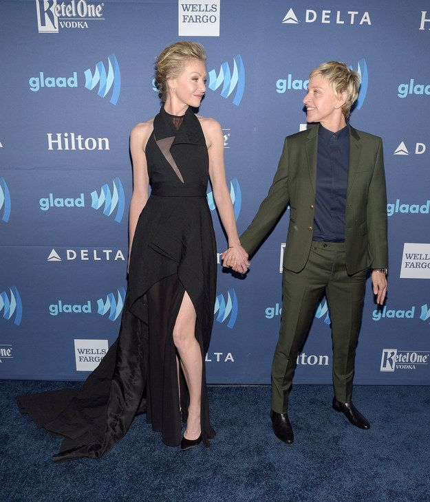 And Ellen DeGeneres and Portia de Rossi are just happy to be on that red carpet together.   28 Celebrity Couples Who'll Make You Believe In Love Again