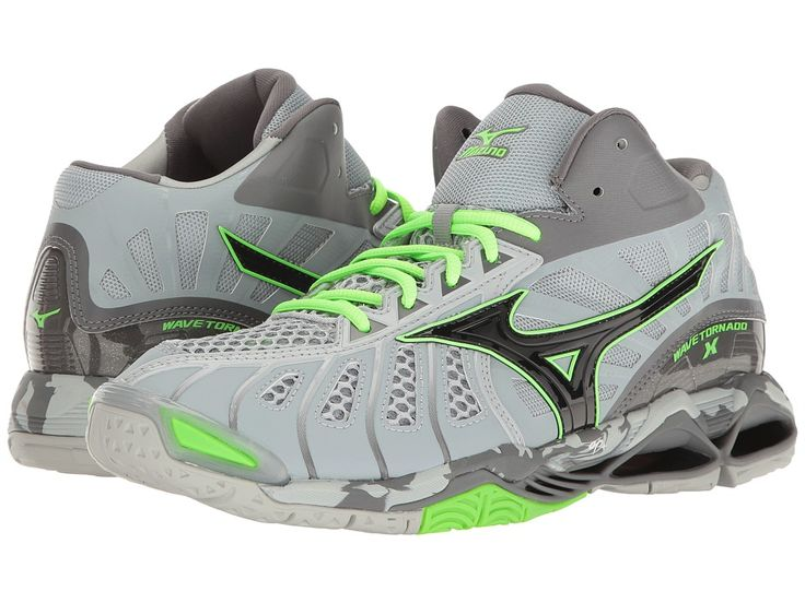 Mizuno - Wave Tornado X Mid (Grey/Green Gecko) Men's Volleyball Shoes - Shoes Features ✅ Offer your feet more coverage on the courts with the Mizuno Wave Tornado X Mid volleyball shoe! Land that ace with Mizuno! ; Combination synthetic and Air